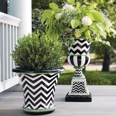 Zoey Urn- using cheap fiberglass planter I can paint this design. Love black white and green.