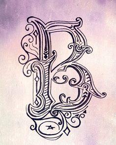 B is for bagel. Vintage letter by Elissa Surabian