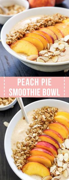 Pie Smoothie Bowl is a thick, creamy, protein filled peach smoothie with a. -Peach Pie Smoothie Bowl is a thick, creamy, protein filled peach smoothie with a. - Smoothie bowl healthy breakfast with blue spiru. Peach Smoothie Recipes, Apple Smoothies, Healthy Breakfast Smoothies, Strawberry Smoothie, Dinner Healthy, Healthy Filling Breakfast, Smoothie Bowl, Brunch Recipes, Breakfast Recipes