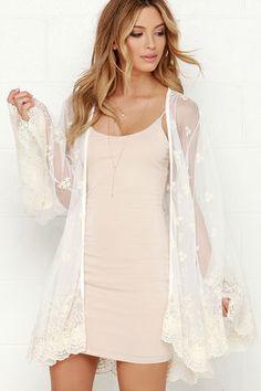 Cream and Ivory Kimono - Lace Kimono - White Kimono - $74.00