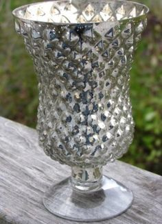 Mercury Glass Style Silver Hobnail Hob Nail Vases  $19