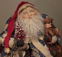 Handmade OoAk Patriotic Sitting Santa Claus & Teddy By Kim Sweet~Kim's Klaus~Antique Quilt~Vintage Christmas OoAk Art DoLL