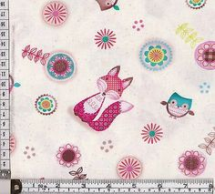 PATCHWORK/QUILTING/CRAFT FABRIC FRIENDLY FOREST OWLS and FOXES  100% COTTON