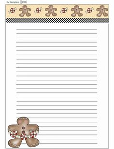 Recipe Card - Large, Gingerbread Men. Printable Recipe Cards, Printable Labels, Printable Lined Paper, Christmas Border, How To Make An Envelope, Borders For Paper, Christmas Clipart, Free Fun, Paper Envelopes