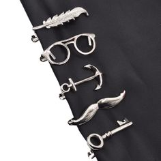 1 piece Feather Glasses Anchor Mustache Key Shape Metal Tie Clip for Men Glasses Commercial Necktie Clips Pin
