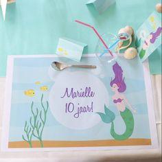 Placemats   Diep in de Zee #kinderfeestje #kids #party #sea #mermaids #tabledeco #Beaublue