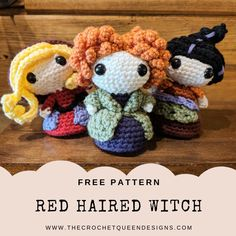 Kostenlose Muster - Rothaarige Hexe - The Crochet Queen Designs - Hello Crochet - Amigurumi Clues Crochet Fall, Cute Crochet, Crochet Crafts, Crochet Toys, Crochet Projects, Crochet Beanie, Crotchet, Crochet Penguin, Crochet Monsters
