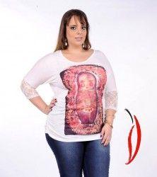 Loja Virtual Plus Size www.tamanhosespeciais.com.br Blusa com Renda Matrioska plus size 50 52 54 56