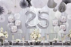 Bodas de Prata – 25 Anos de Casamento wedding party decoration with silver accents, flowers 25 Year Anniversary Gift, Anniversary Dinner, Silver Anniversary, Anniversary Parties, 25th Wedding Anniversary Party Ideas, Anniversary Ideas, Anniversary Cards, Chandelier En Argent, Wedding Signs