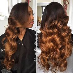 Gorgeous curls  #haircolor on this install  Love this bronzed colorcustom order is welcome #cocoblackhair Coco Black Hair provide the most natural looking hair and wigs Change yourself today!