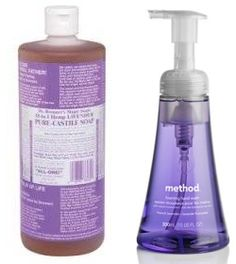 DIY foaming soap with Dr. Bronner's (I also add a squirt of glycerin; it just makes it feel nicer.)