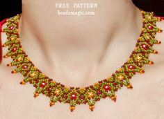 Free pattern for beaded necklace Masai U need: seed beads 11/0