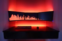 Incredible floating PC desk. Perfect for gaming battle station.  End of a hallway, or closet? #gaming #gamer