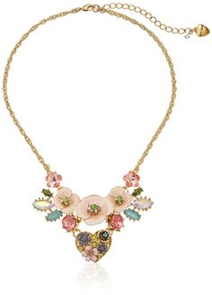 "Betsey Johnson ""Queen Bee"" Heart and Flower Necklace  16"" + 3"" Extender"