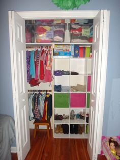 Light storage, step-stool, kid friendly closet