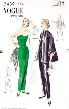 Vogue 7439 1950s jumpsuit jacket vintage sewing pattern