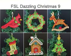 FSL Dazzling Christmas Ornament Free Standing Lace Machine   Etsy Hummingbird Flowers, Star Stitch, Lace Design, Machine Embroidery Designs, Gift Tags, Christmas Ornaments, Xmas, Handmade Items, 4x4
