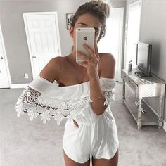 2016 New Siamese Leggings Combishort Femme Summer White Short Jumpsuit Off Shoulder Playsuit Rompers Womens Jumpsuit Fashion Moda, Look Fashion, Fashion Outfits, Chic Outfits, Classic Outfits, Fashion Photo, Spring Fashion, Girl Outfits, Backless Maxi Dresses