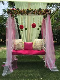 Unique Mehendi Backdrop Decor Ideas to Steal for your Wedding Desi Wedding Decor, Wedding Flower Decorations, Backdrop Decorations, Backdrops, Wedding Ideas, Mehendi Decor Ideas, Mehndi Decor, Green Theme, Unique Weddings