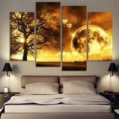 4 Panel ancient tree Printed Universe Space Paintings Canvas Picture Cuadros Earth Landscape Painting For Living Room No Frame Canvas Painting Landscape, Space Painting, Painting Prints, Canvas Paintings, Living Room Pictures, Wall Art Pictures, Canvas Pictures, Hanging Canvas, Canvas Wall Art