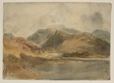 Joseph Mallord William Turner 'Llanberis Lake and Dolbadarn Castle, with Snowdon Beyond', c.1799–1800 - Gouache, graphite and watercolour on paper - Dimensions Support: 548 x 765 mm - Collection - Tate