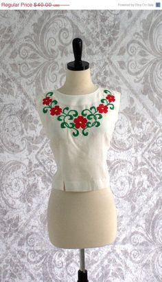 1950s Embroidered White Cotton and Cropped Top $32.00