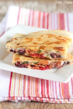 Cheesy Mediterranean Bacon Quesadilla, great flavors inside a buttery crisp tortilla!