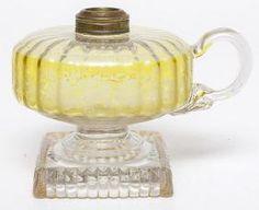 Optic Molded Vaseline & Clear Finger Lamp Kerosene Lamp, Vintage Lamps, Vaseline, Oil Lamps, Glass Art, Finger, Miniatures, Lights, Petroleum Jelly