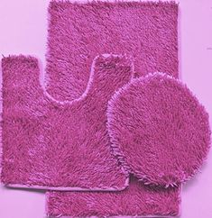 3 Piece Shiny Soft Padded Chenille Bath Rug, Contour Rug and Lid Cover (Hot Pink)