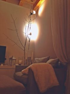 Cosy living room, a branch of a tree gives a warm touch to the room.