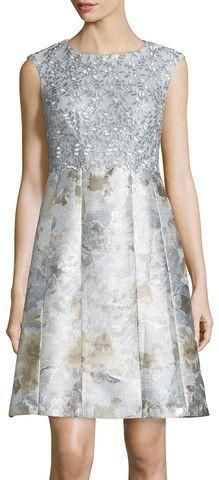 Metallic Combo Fit & Flare Cocktail Dress-Silver/Multi