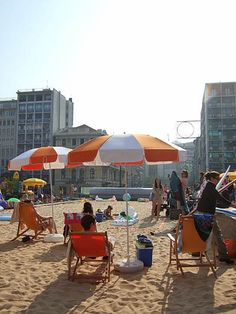 Athens city centre, Greece / Omonia square became a beach for a day! YAY! too bad i'm stuck at work :(