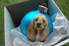 Yellow Cocker Spaniel- Blue Ornament