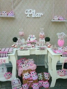 Shabby chic owl birthday party! See more party ideas at CatchMyParty.com!