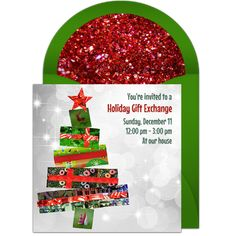 We are loving this festive Christmas party invitation featuring a tree made out of gifts. Free and easy to send via text, email, or social media. Christmas Bulbs, Christmas Crafts, Holiday Gifts, Holiday Decor, Christmas Party Invitations, Online Invitations, December 11, Gift Exchange, Youre Invited