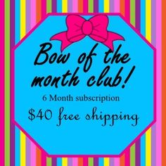 Hair bow of the month, monthly subscriptions, hair clips, little girl gifts, mail order gifts, alligator clips by MyKurlyKreations on Etsy https://www.etsy.com/listing/251858089/hair-bow-of-the-month-monthly