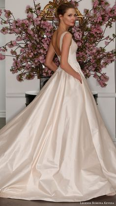 LEGENDS ROMONA KEVEZA bridal spring 2017 sleeveless bateau neck silk shantung taffetta ball gown wedding dress (l7129) bv blush color pocket #bridal #wedding #weddingdress #weddinggown #bridalgown #dreamgown #dreamdress #engaged #inspiration #bridalinspiration #weddinginspiration #weddingdresses #pocket