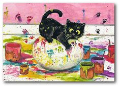 Black Cat Easter Egg Coloring Paint Mess by AmyLyn Bihrle