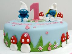 easy smurf cake - Google Search First Birthday Themes, First Birthdays, Birthday Parties, Cupcakes, Cupcake Cakes, Rainbow Food, Sugar Cake, Cake Images, Cakes For Boys