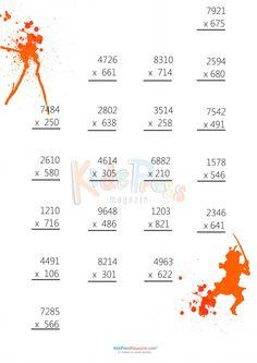 3 Digit by 4 Digit Multiplication Worksheet -#1   #advanced #multiplication #worksheet #4th #grade