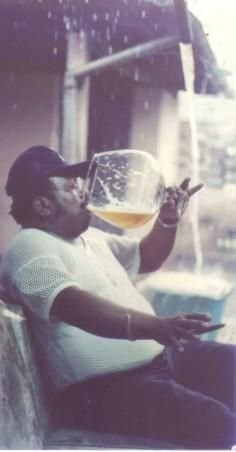 Like A Boss In This Picture: Photo of man drinking large glass