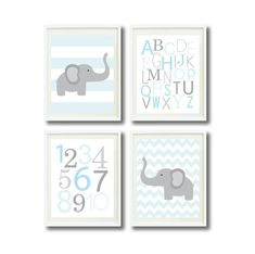 Modern Nursery Print Set of Four by GatheredNestDesigns on Etsy