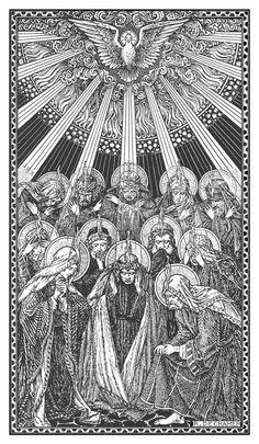 Catholic line art - Pentecost
