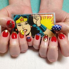 Adorable nerd nails of the day: nailsyall: Wonder Woman talismans for Esther's new job