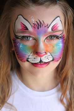rainbow cat face paint inspiration not sure of source if you know let me know. Face Painting Unicorn, Girl Face Painting, Face Painting Designs, Painting For Kids, Body Painting, Puppy Face Paint, Kitty Face Paint, Cat Face Paint Easy, Animal Face Paintings
