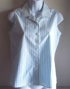Talbots Petites Size 4 Shirt Blue White Striped Button Down Front Wrinkle Resist #Talbots #ButtonDownShirt #Casual