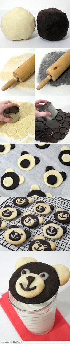 Teddy Bear cookies - simply make a double batch of sugar cookie dough. Add color to half of dough. Roll out both and follow the pictures for assembly. Draw eyes, nose & mouth with decorating gel or colored icing.