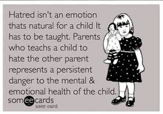 Parental Alienation when a parent bashes the other parent & his/her extended family to a child with the intent of having the child cut them out of their life. Parental Alienation Syndrome when the child has begun to do so with or without help from alienating parent.