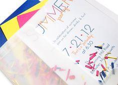 fun summer party invitation in vellum envelope