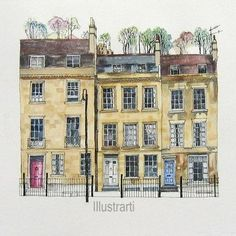 Print of Houses Bath UK From an Original Drawing and Painting House Sketch, House Drawing, House Illustration, Watercolor Illustration, Pen And Watercolor, Watercolour Painting, Fabrice Moireau, Bath Uk, Watercolor Architecture